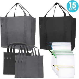 15-Pack Reusable Folding Grocery and Produce Bags – Lightning Deal + Clip Coupon – $16.14 (was $22.99)