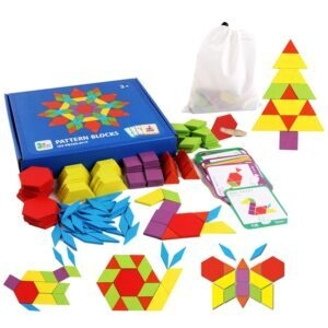 Set of 155 Wooden Pattern Blocks Geometric Shape Puzzle – Lightning Deal – $7.79 (was $14.96)