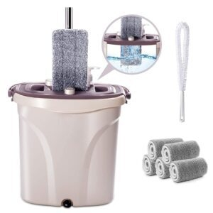 Masthome Flat Squeeze Mop and Bucket Set – Clip Coupon + Coupon Code EG9R258L – $17.59 (was $43.99)