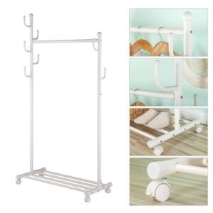 2-in-1 Rolling Garment Rack – Clip Coupon + Coupon Code 50M7LSJ7 – $17.99 (was $44.99)