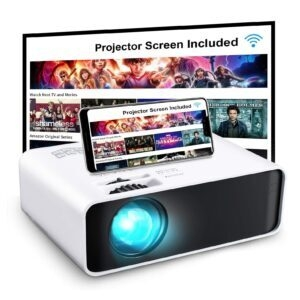 GooDee WiFi Mini Projector with Projector Screen – Clip Coupon + Coupon Code U5RRZOF3 – $61.99 (was $129.99)