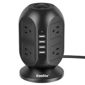 Keedox Multi Plug Outlet Tower – Clip Coupon + Coupon Code 40I7OZRI – $12.95 (was $23.99)