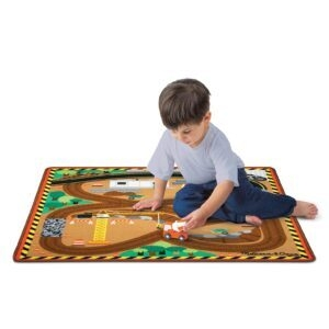 Melissa and Doug Round The Construction Zone Rug with 3 Wooden Trucks – Price Drop – $18.30 (was $29.99)