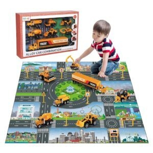 Temi Diecast Engineering Construction Vehicle Toy Set w/ Play Mat – Price Drop – $16.99 (was $29.99)
