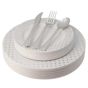 100-Piece White and Silver Plastic Plates and Cutlery Set – Price Drop – $22.99 (was $33.99)