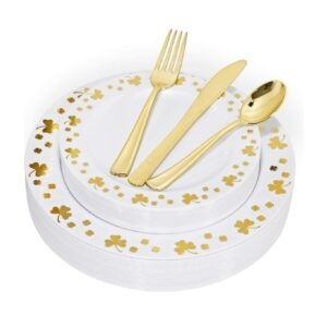 150pcs WDF Gold Plastic Plates with Disposable Plastic Silverware – Price Drop – $12.99 (was $19.99)