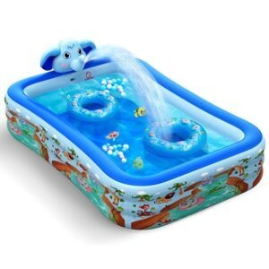 Hamdol Inflatable Swimming Pool with Sprinkler – Clip Coupon + Coupon Code VERD75I3 – $66.79 (was $109.99)