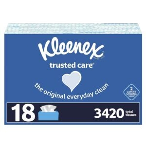 18 Flat Boxes Kleenex Trusted Care Facial Tissues – $29.20 – Clip Coupon – (was $34.20)