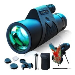 Simitten High Power Monocular Telescope w/ Smart Phone Adapter – Clip Coupon + Coupon Code 51C982NF – $9.60 (was $39.99)